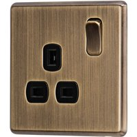 Arlec Fusion 13A 1 Gang Antique Brass Single switched socket