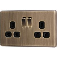Arlec Fusion 13A 2 Gang Antique Brass Double switched socket