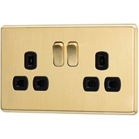 Arlec Fusion 13A 2 Gang Gold Double switched socket