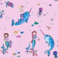 Holden Decor Narwhals and Mermaids Kids Smooth Glitter Pink Wallpaper
