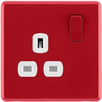 Arlec Rocker 13A 1 Gang Cherry Red Single switched socket