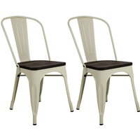 Pair of Metal & Wood Dining Chairs - Cream