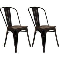Pair of Metal & Wood Dining Chairs - Black