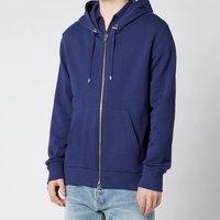 Balmain Men's Zipped Bi Colour Flock Hoodie - Blue - XL