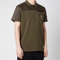 Balmain Men's Badge Polo Shirt - Khaki - S