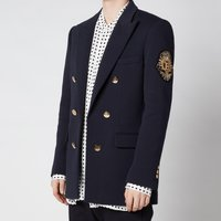 Balmain Men's Six Button Jersey Badge Blazer - Marine - 52/XL