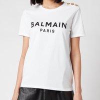 Balmain Women's 3 Button Printed Logo T-Shirt - Blanc/Noir - S