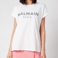 Balmain Women's Strass Logo T-Shirt - Blanc/Noir - L