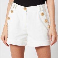 Balmain Women's Low Rise Cotton Pique Shorts - Blanc - FR 38/UK 10