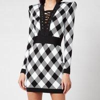 Balmain Women's Short Long Sleeve Lace Up Gingham Jacquard Dress - Noir/Blanc - FR 36/UK 8
