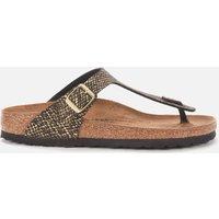 Birkenstock Women's Shiny Python Gizeh Toe-Post Sandals - Black/Gold - EU 36/UK 3.5