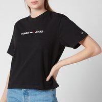Tommy Jeans Women's Tjw Modern Linear Logo T-Shirt - Black - L