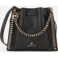 MICHAEL Michael Kors Womens Mina Medium Chain Messenger Bag - Black