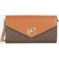 MICHAEL Michael Kors Womens Carmen Large Wallet Chn Cross Body Bag - Brown/Acorn