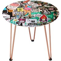 Decorsome Sticker Wall Wooden Side Table - Rose gold