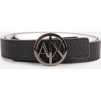 Armani Exchange Women's Round Reversible Logo Belt - Black - EU 90/W36
