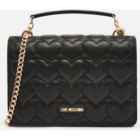 Love Moschino Womens Heart Quilt Shoulder Bag - Black