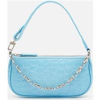 BY FAR Women's Mini Rachel Circular Croco Shoulder Bag Exclusive - Blue Lagoon