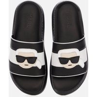 KARL LAGERFELD Women's Kapri Ikonic Leather Flatform Slide Sandals - Black - UK 7