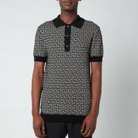 Balmain Men's Knitted Monogram Polo Shirt - Ivory/Black - S