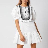 Self-Portrait Women's Lace-Bib Cotton Mini Dress - White - UK 8