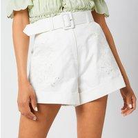 Self-Portrait Women's Cotton Canvas Embroidered Shorts - White - UK 8