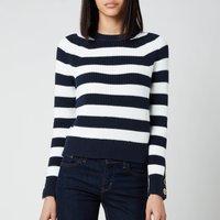 MICHAEL Michael Kors Women's Stripe Button Cuff Sweater - Midnight Blue/White - M