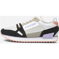 Puma Women's Mile Rider Power Play Running Style Trainers - Puma White/Puma Black/Apricot Blush - UK