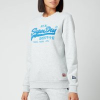 Superdry Women's Vl Chenille Crewneck Sweatshirt - Light Grey Marl - UK 14