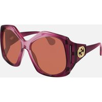 Gucci Women's 70's Fork Acetate Sunglasses - Burgundy/Burgundy/Orange