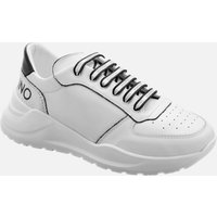 Mario Valentino Shoes Men's Leather Running Style Trainers - White/Black - UK 10