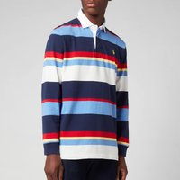 Polo Ralph Lauren Mens Rustic Jersey Stripe Rugby Polo Shirt - Newport Navy Multi - XXL