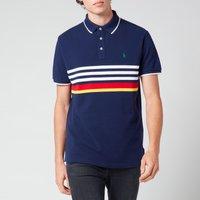 Polo Ralph Lauren Men's Custom Slim Fit Striped Mesh Polo Shirt - Newport Navy Multi - S