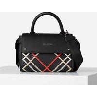 KARL LAGERFELD Womens K/Ikon Whipstitch Mini Top Handle Bag - Black/Multi