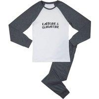 Caffeine & Quarantine Men's Pyjama Set - White/Grey - M