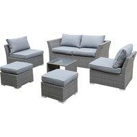 Bambrick 6 Seater Grey Garden Sofa Set