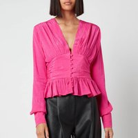 ROTATE Birger Christensen Women's Tracy Top - Fuchsia Pink - DK 32/UK 6