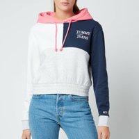 Tommy Jeans Women's Tjw Crop Colorblock Logo Hoodie - Silver Grey Htr/Multi - XS