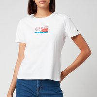 Tommy Jeans Women's Tjw Slim Floral Flag Tee - White - L