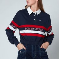 Tommy Jeans Womens Tjw Crop Rugby Polo - Twilight Navy/Multi - XS