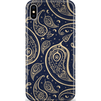 Blue & Gold Paisley Phone Case for iPhone and Android - Samsung S10E - Snap Case - Matte