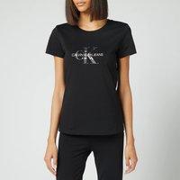 Calvin Klein Jeans Women's Seasonal Filled Monogram T-Shirt - CK Black/Reptile - L