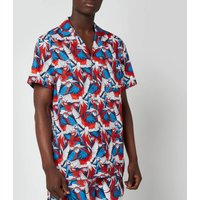 Tommy Jeans Mens Classic All Over Print Short Sleeve Shirt - Parrot Print - L