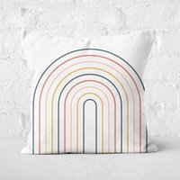 Striped Oval Retro Motif Square Cushion - 60x60cm - Soft Touch