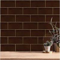 V&A Puddle Glaze Teapot Brown Wall Tile - 15.2x7.6cm