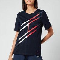 Tommy Sport Women's Regular Large Flag Crew Neck T-Shirt - Desert Sky - XS