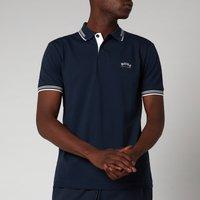 BOSS Athleisure Men's Paul Stretch Pique Curved Logo Polo Shirt - Medium Blue - S