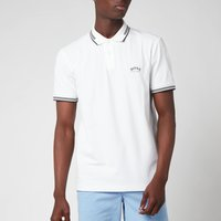 BOSS Athleisure Men's Paul Stretch Pique Curved Logo Polo Shirt - Open White - S
