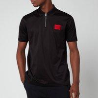 HUGO Mens Half Zip Polo Shirt - Black - M