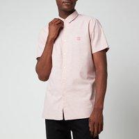 BOSS Casual Mens Logo Patch Slim Fit Short Sleeve Shirt - Pastel Pink - M